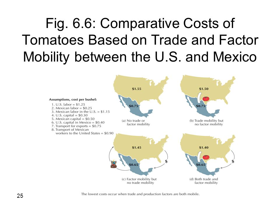 Fig. 6.6: Comparative Costs of Tomatoes Based on Trade and Factor Mobility between the U.S.