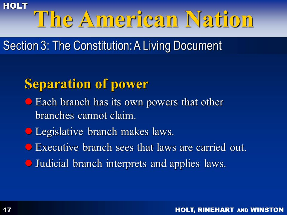 Separation of power Section 3: The Constitution: A Living Document