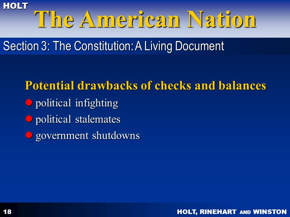 Potential drawbacks of checks and balances