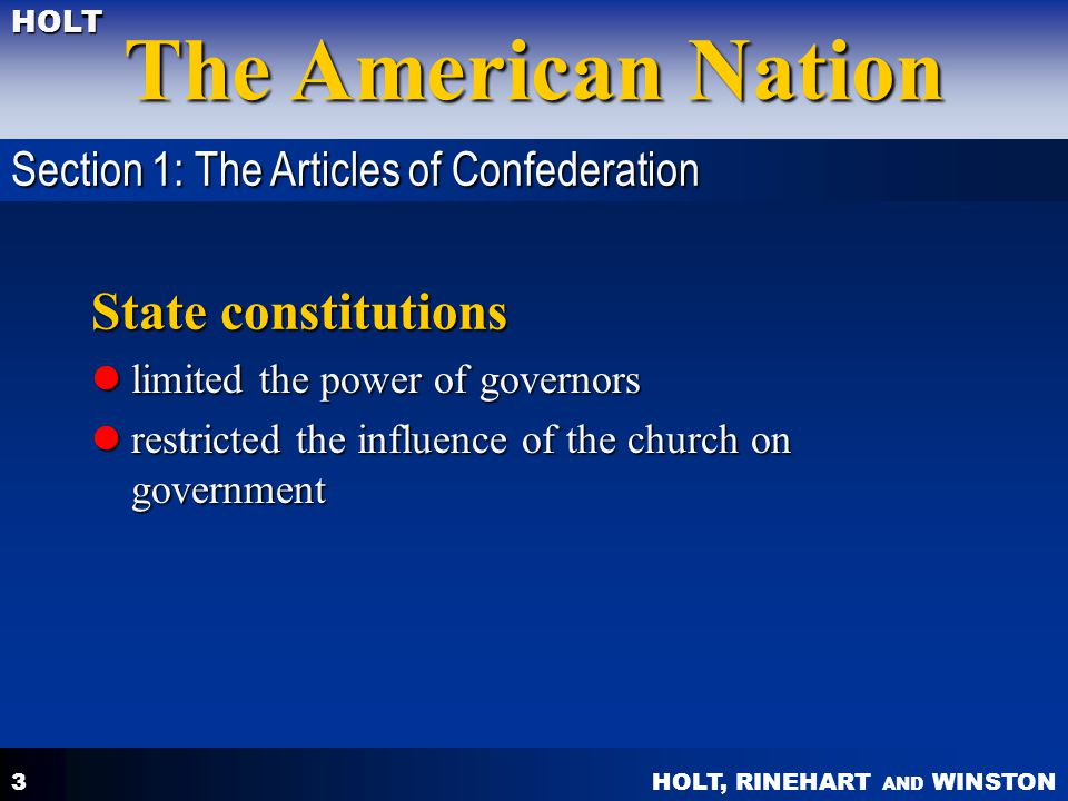 State constitutions Section 1: The Articles of Confederation