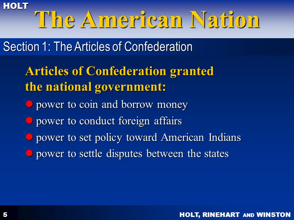 Articles of Confederation granted the national government: