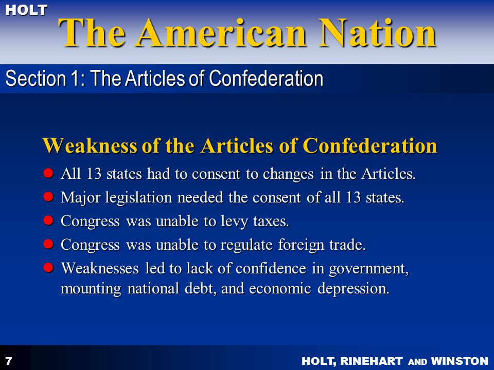 Weakness of the Articles of Confederation
