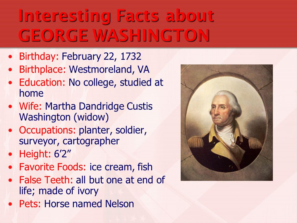 2 Interesting Facts About GEORGE WASHINGTON