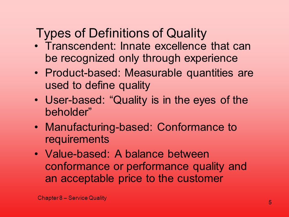 Types of Definitions of Quality