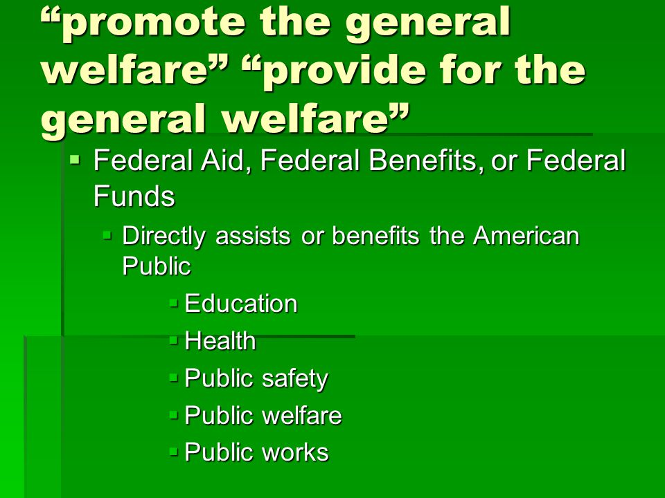 promote the general welfare provide for the general welfare
