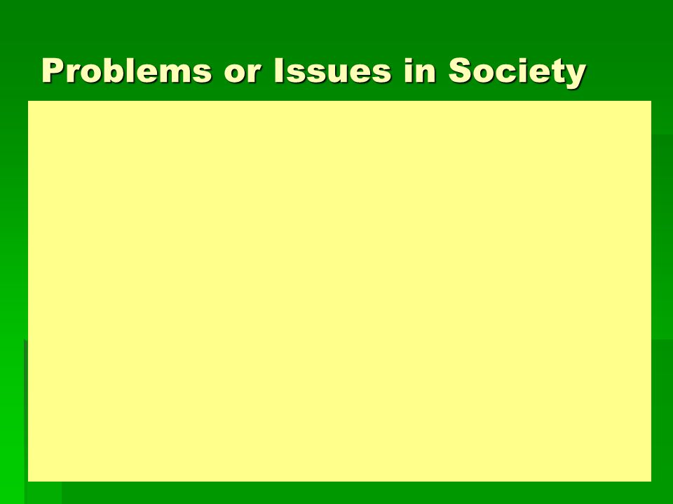 Problems or Issues in Society