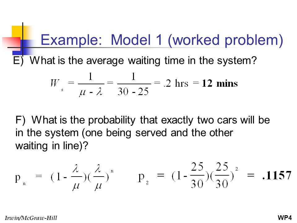 Example: Model 1 (worked problem)