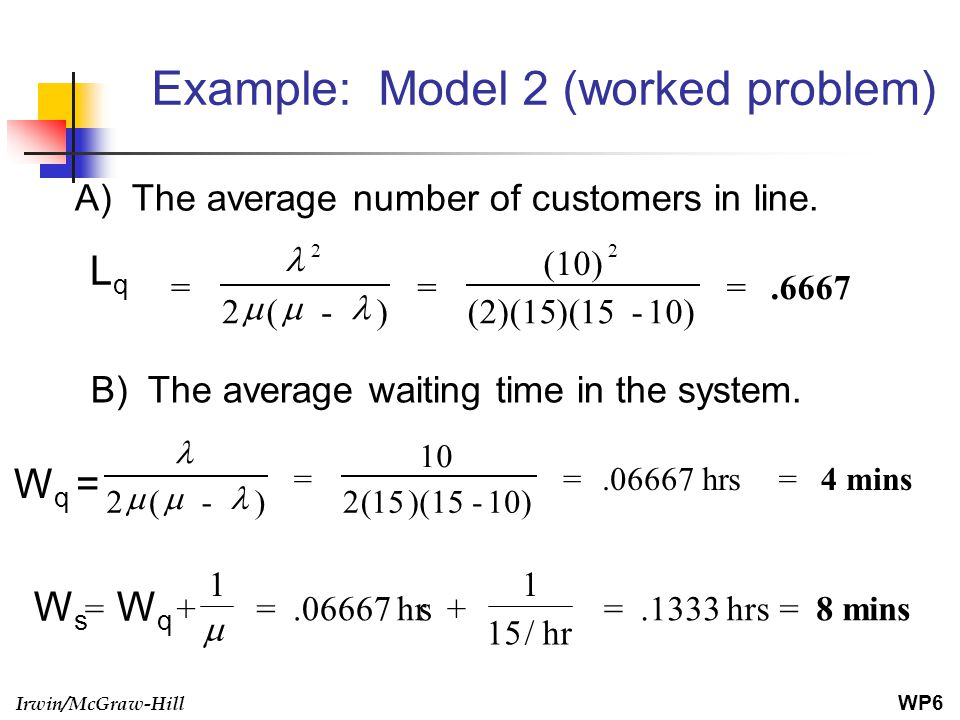 Example: Model 2 (worked problem)