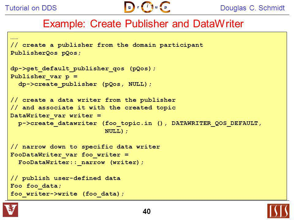 Example: Create Publisher and DataWriter