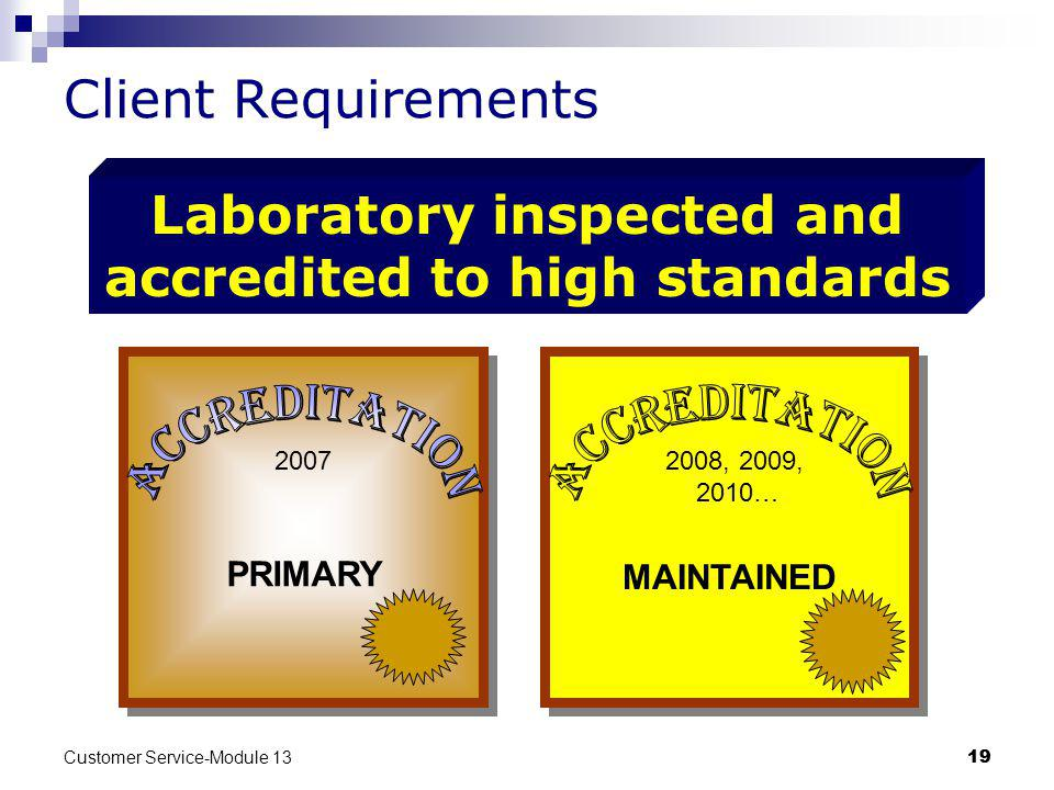 Laboratory inspected and accredited to high standards