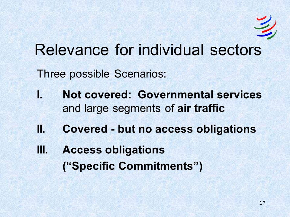 Relevance for individual sectors