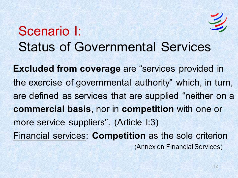 Scenario I: Status of Governmental Services