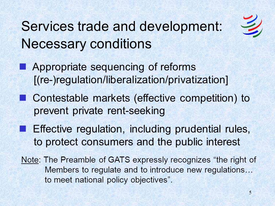 Services trade and development: Necessary conditions
