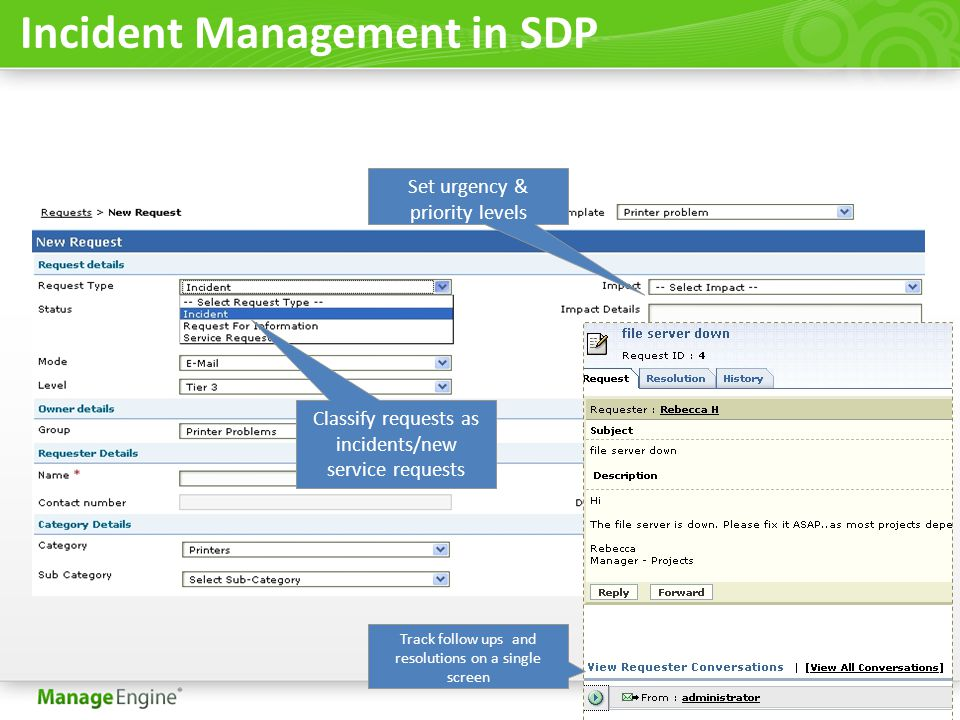 ServiceDesk Plus Product Overview Presented by ManageEngine