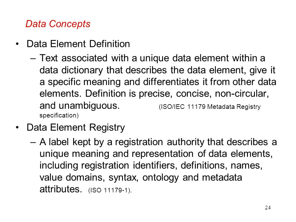 Data Concepts Data Element Definition.