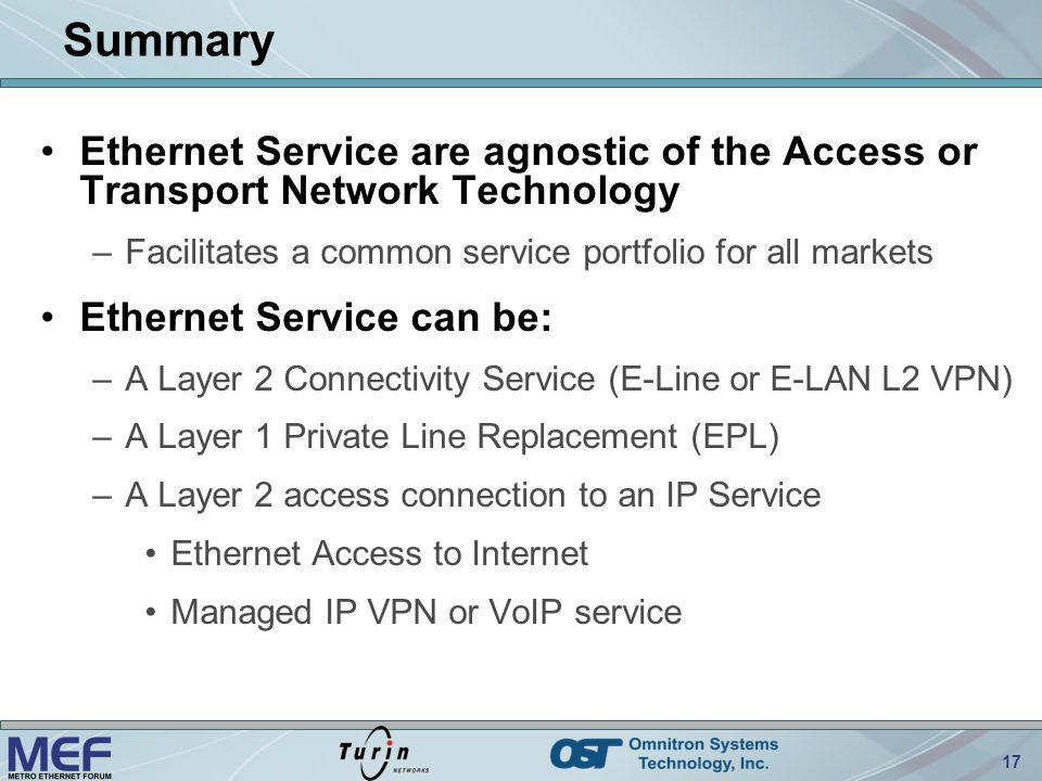 Summary Ethernet Service are agnostic of the Access or Transport Network Technology. Facilitates a common service portfolio for all markets.