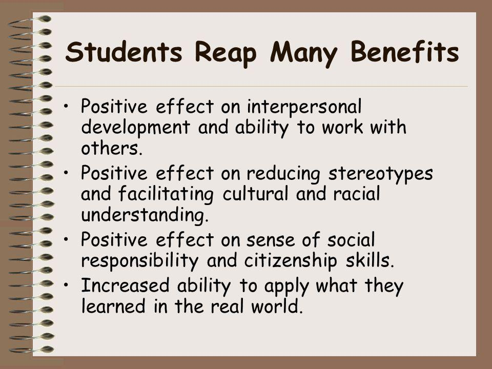 Students Reap Many Benefits
