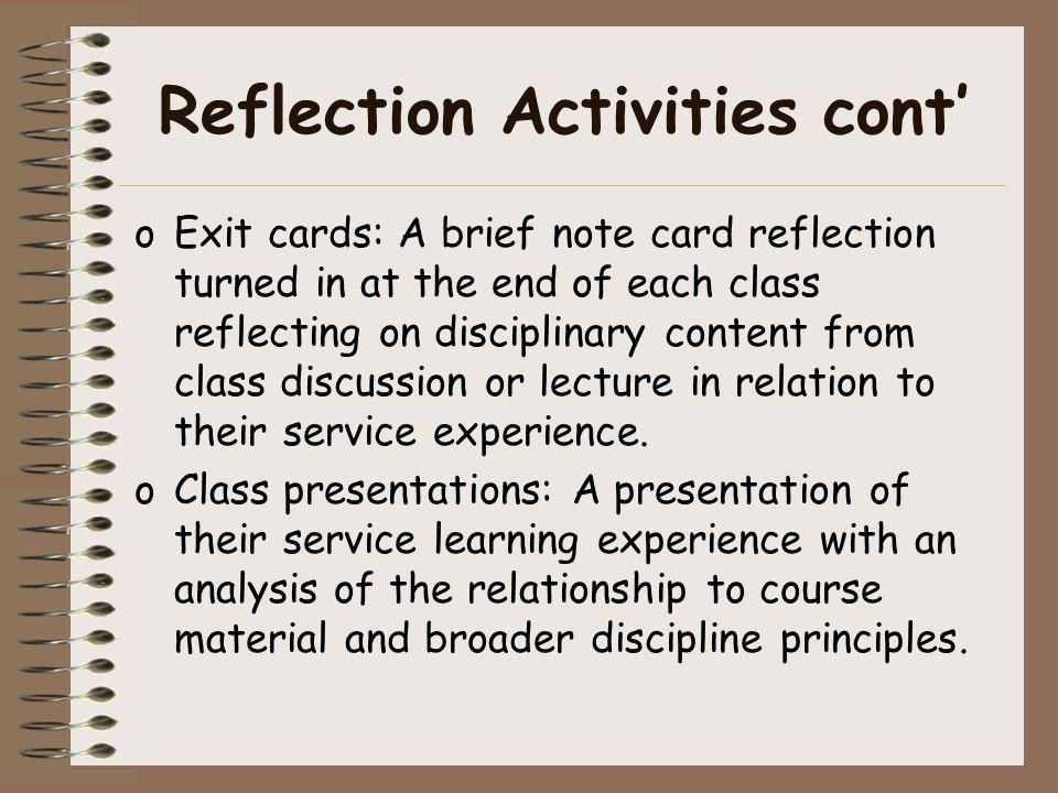 Reflection Activities cont'