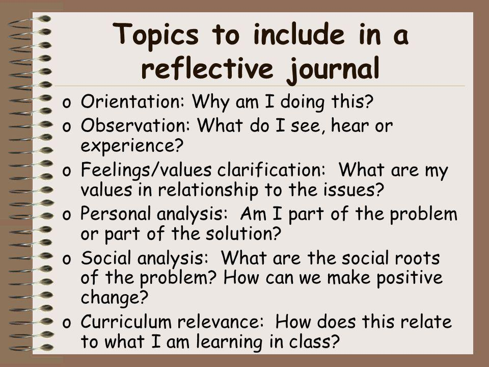 Topics to include in a reflective journal