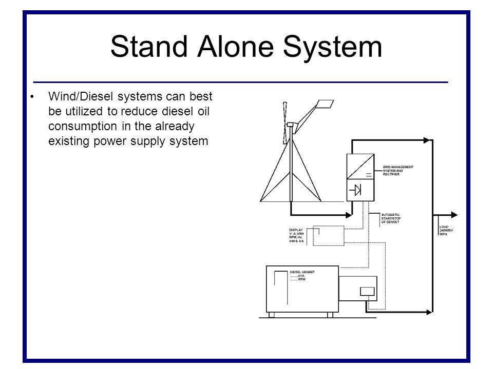 Stand Alone System Wind/Diesel systems can best be utilized to reduce diesel oil consumption in the already existing power supply system.