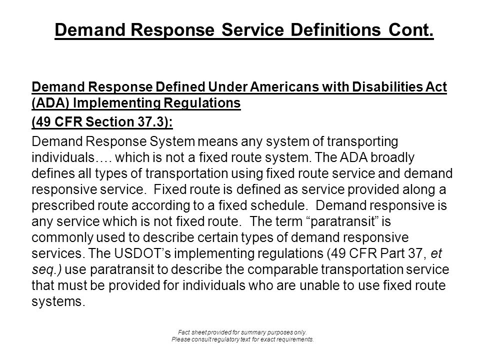 Demand Response Service Definitions Cont.