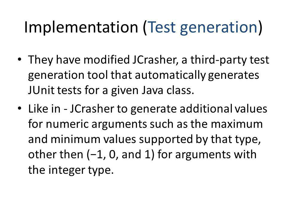 Implementation (Test generation)