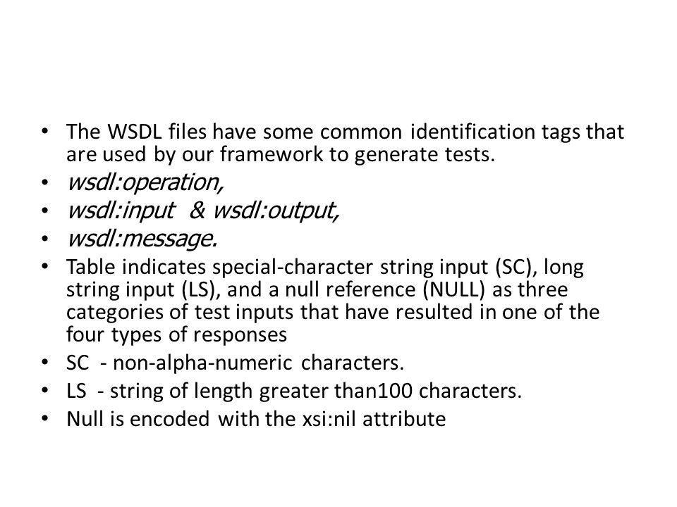 The WSDL files have some common identification tags that are used by our framework to generate tests.