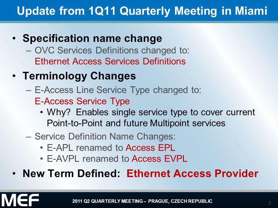 Update from 1Q11 Quarterly Meeting in Miami