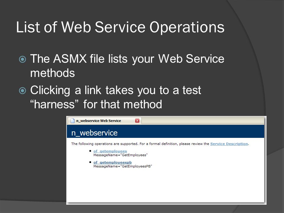 List of Web Service Operations