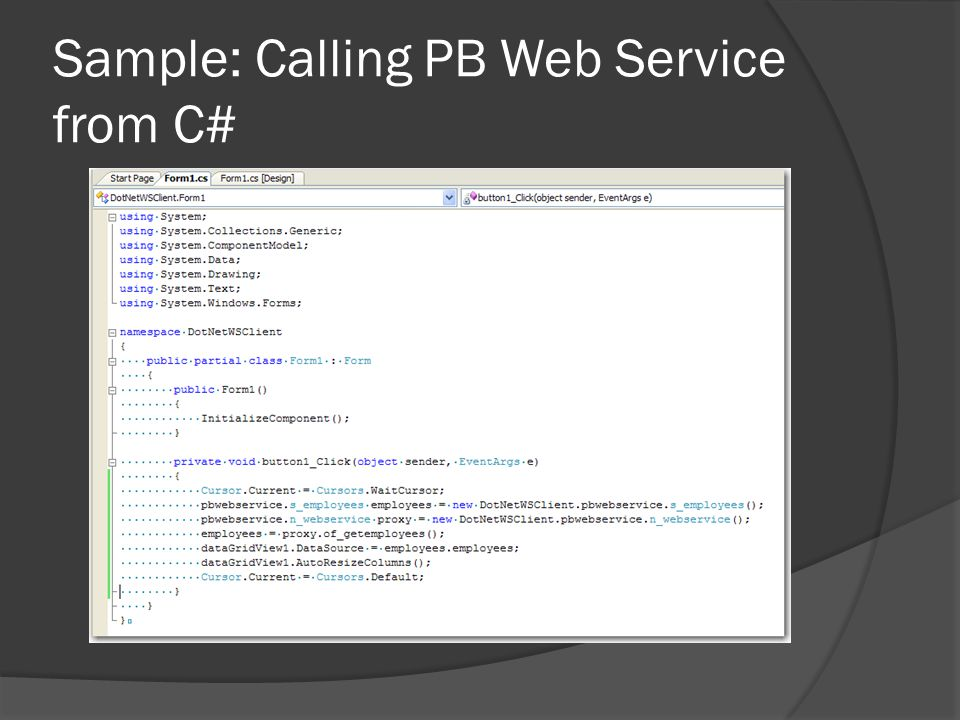 Sample: Calling PB Web Service from C#