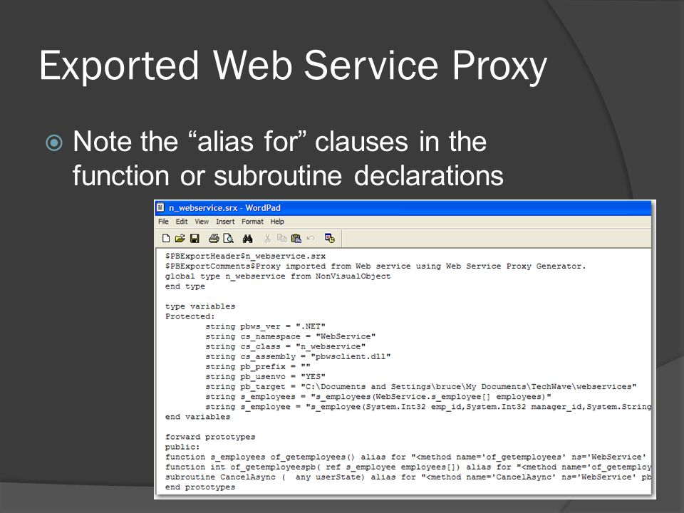 Exported Web Service Proxy
