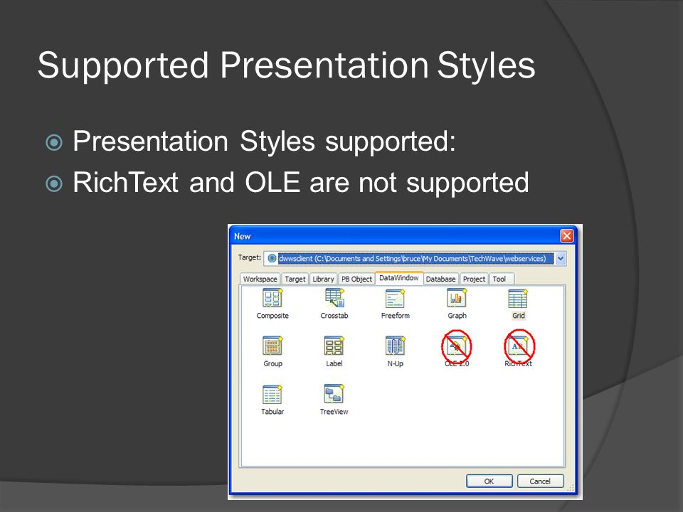 Supported Presentation Styles