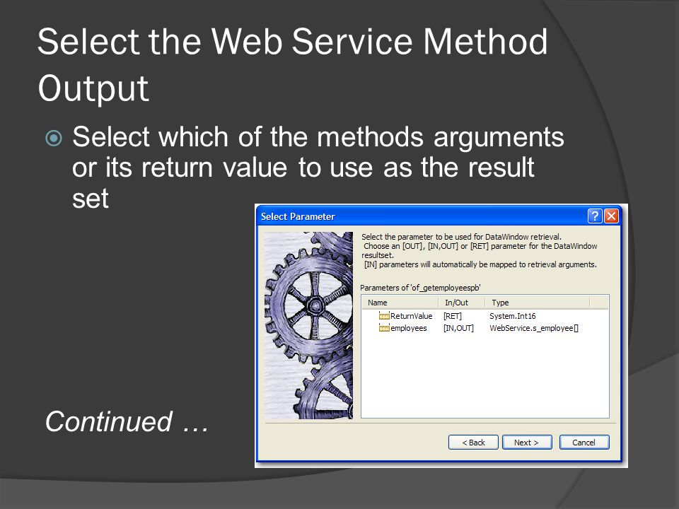 Select the Web Service Method Output