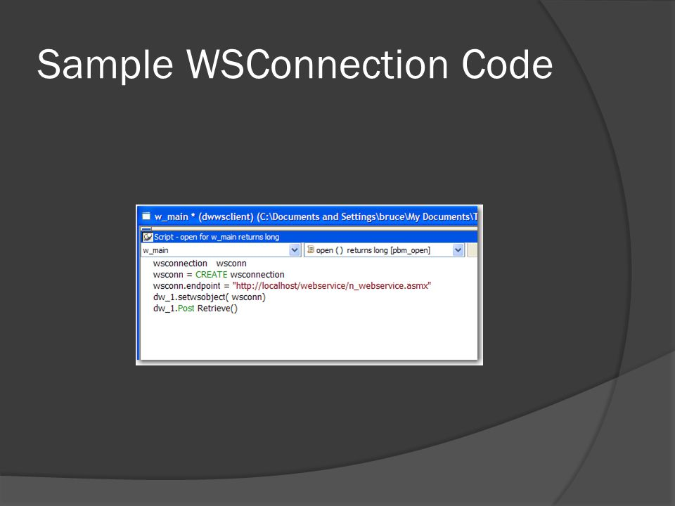 Sample WSConnection Code