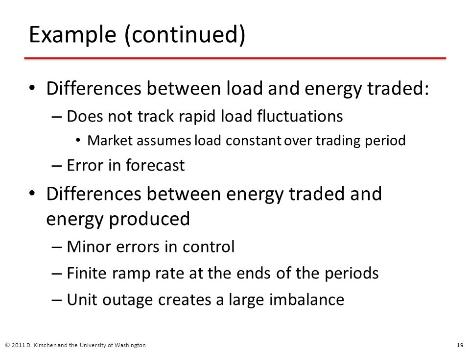 Example (continued) Differences between load and energy traded:
