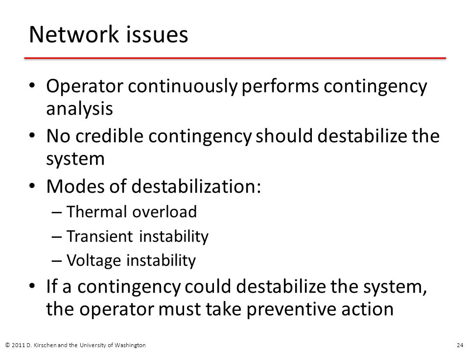 Network issues Operator continuously performs contingency analysis