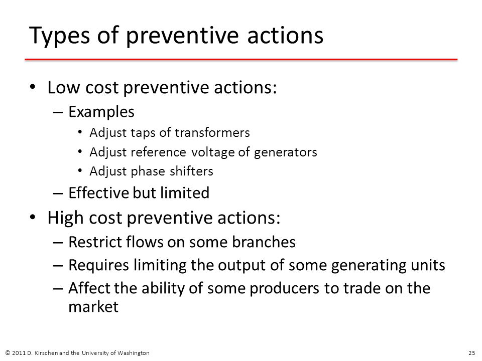 Types of preventive actions