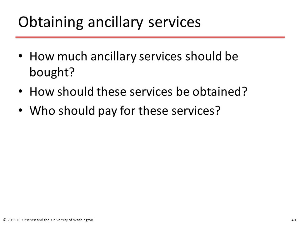 Obtaining ancillary services