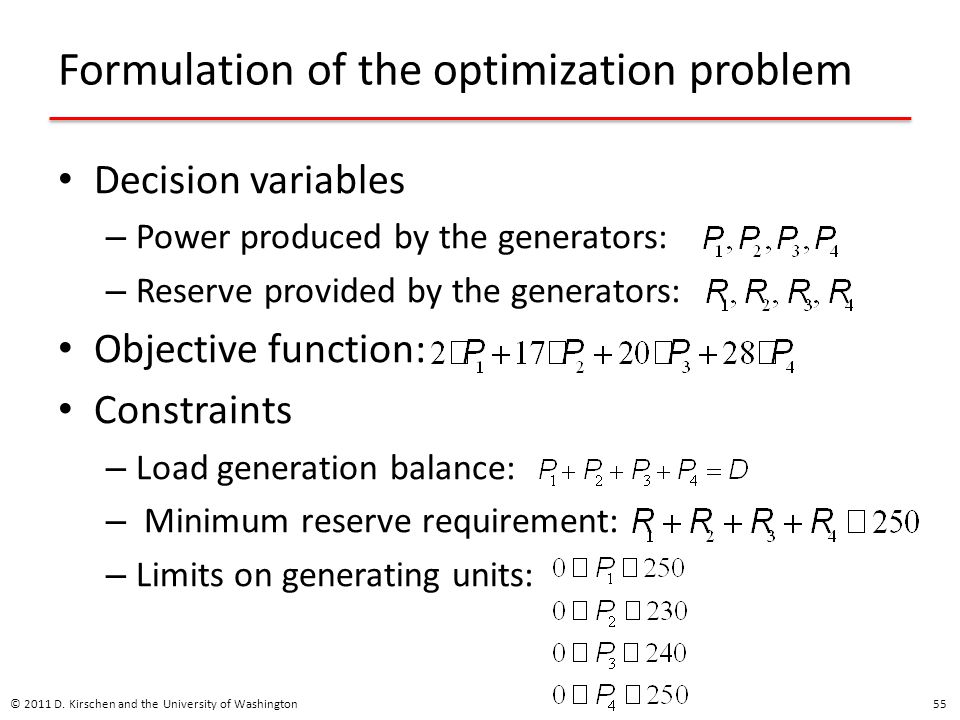 Formulation of the optimization problem