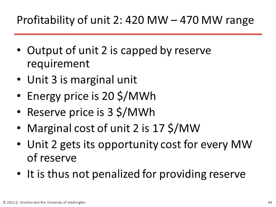 Profitability of unit 2: 420 MW – 470 MW range