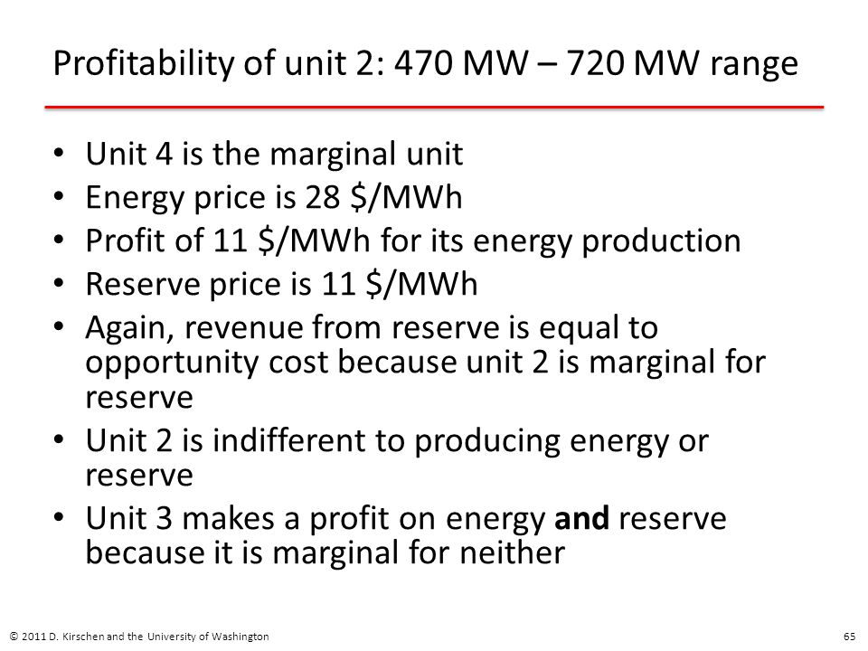 Profitability of unit 2: 470 MW – 720 MW range