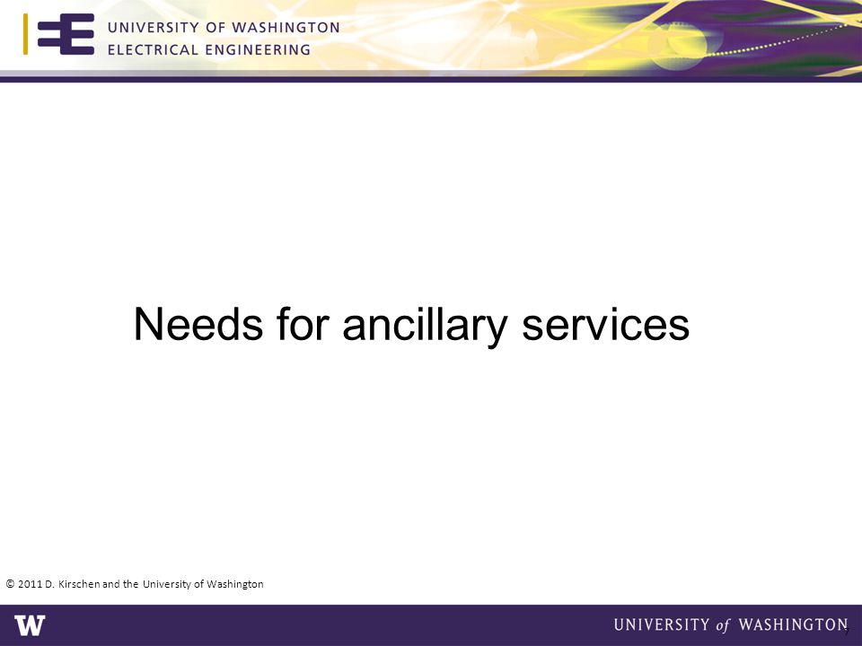 Needs for ancillary services
