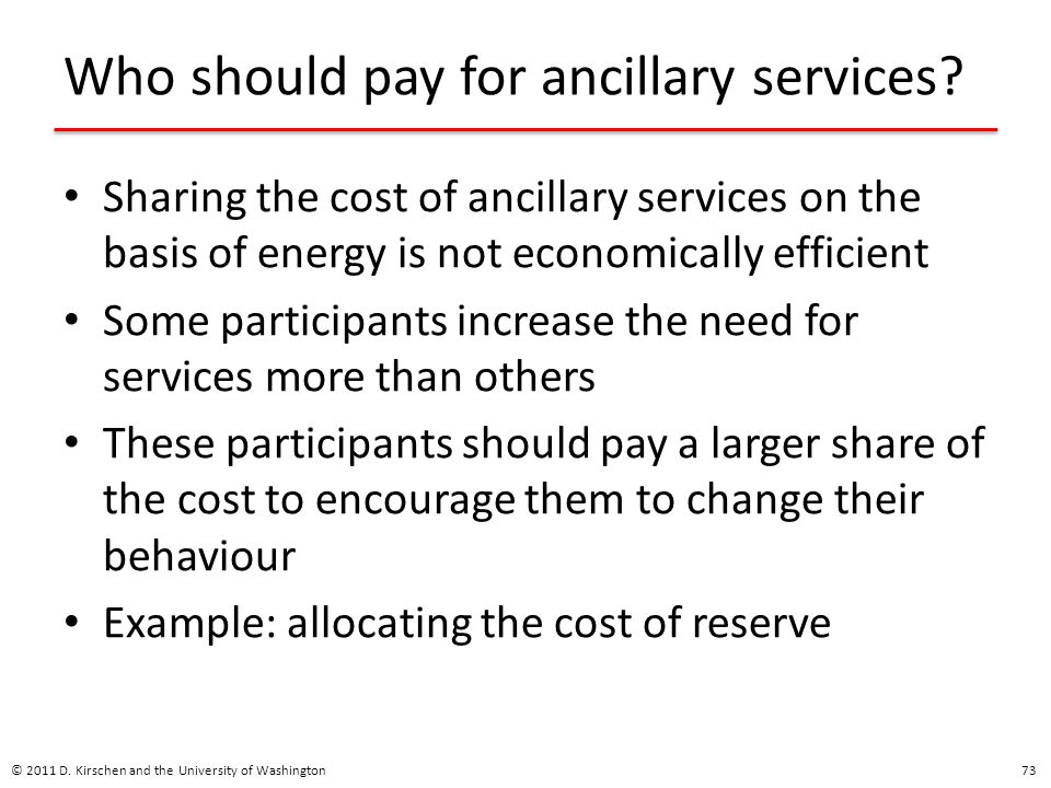 Who should pay for ancillary services