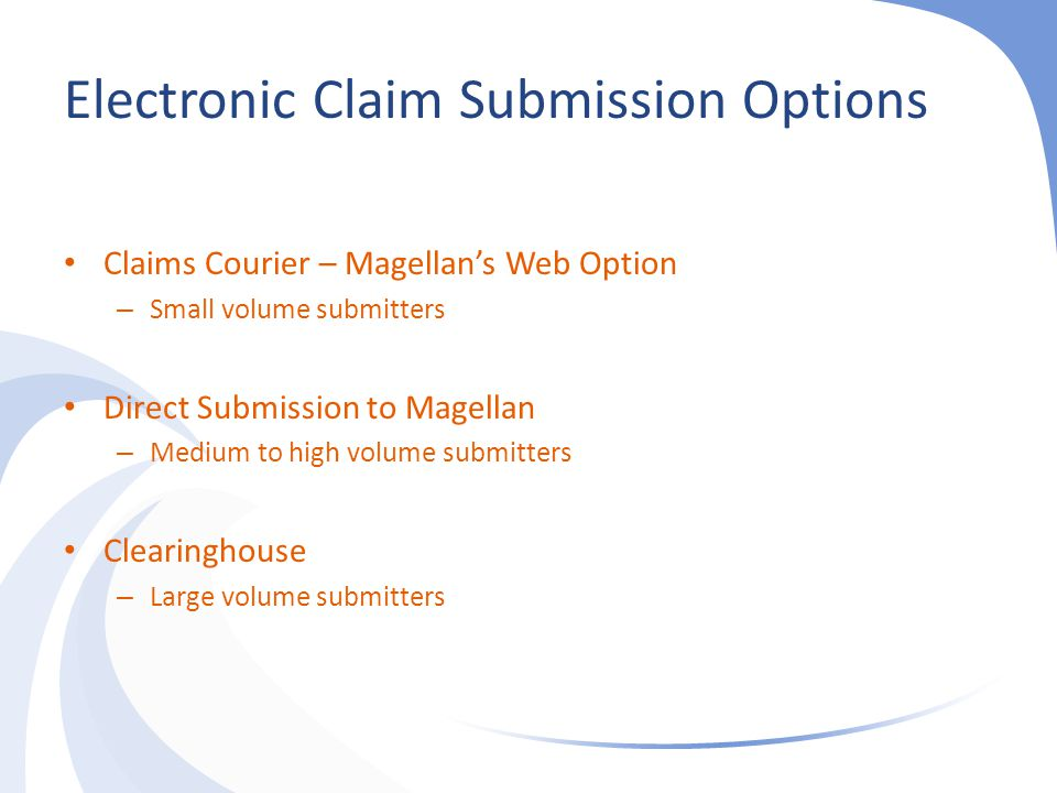 Electronic Claim Submission Options