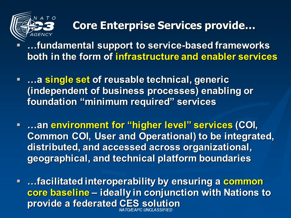 Core Enterprise Services provide…