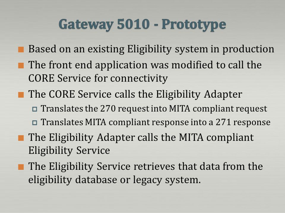 Gateway 5010 - Prototype Based on an existing Eligibility system in production.