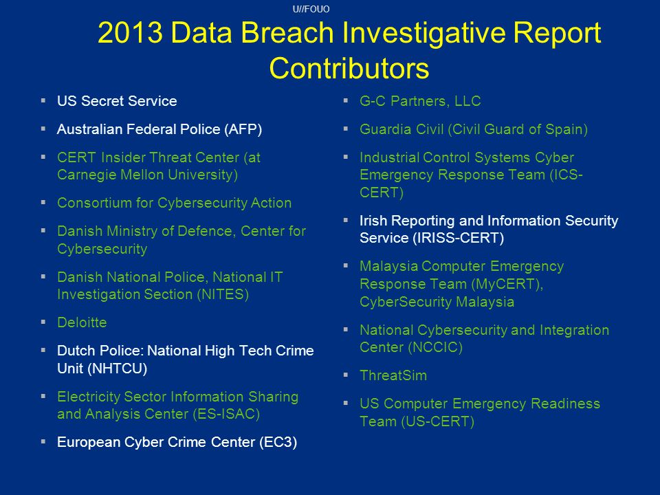 2013 Data Breach Investigative Report Contributors