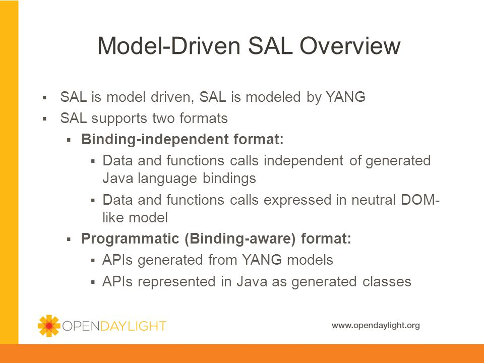 Model-Driven SAL Overview