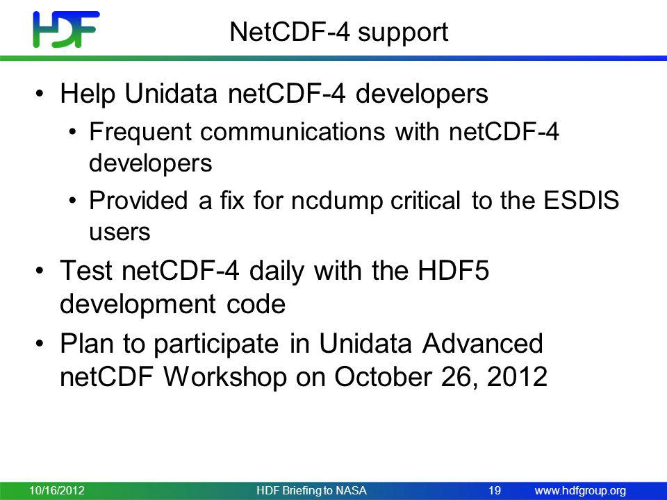 Help Unidata netCDF-4 developers