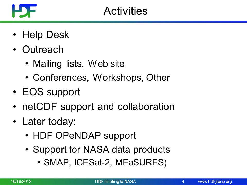 Activities Help Desk Outreach EOS support